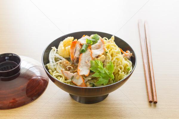 Japán tészta konyhaasztal tál evőpálcika étel Stock fotó © stoonn