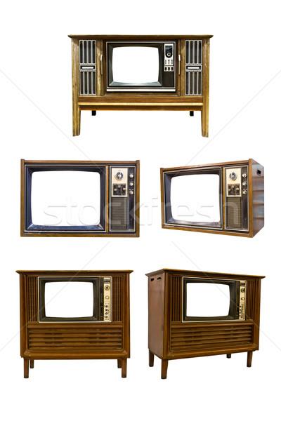 Stok fotoğraf: Retro · bağbozumu · televizyon · beyaz · teknoloji · film