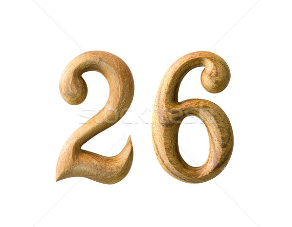 Stock photo: Wooden numeric 26