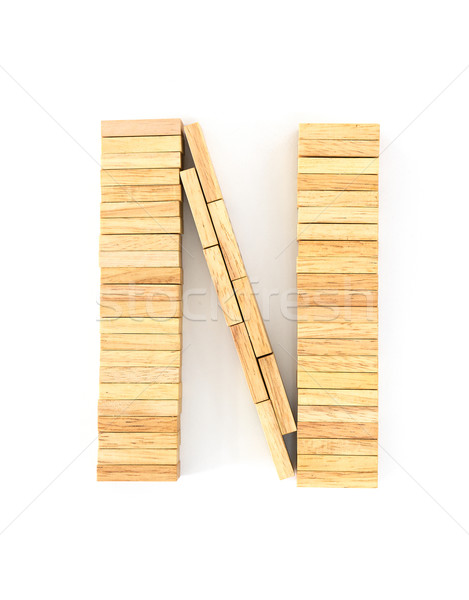 Stock photo: Wooden domino alphabet,N