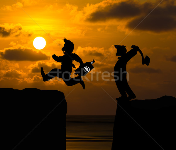 Concept cartoon silhouette, Man hold axe and  Man jumping over p Stock photo © stoonn
