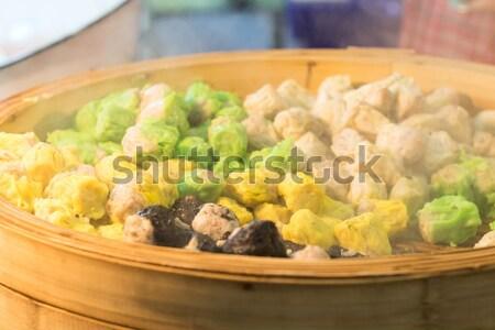 Chinese gestoomd knoedel pot straat markt Stockfoto © stoonn