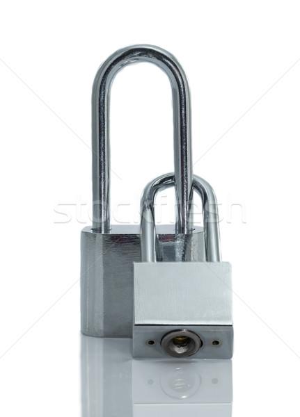 ストックフォト: メタリック · 南京錠 · 孤立した · 白 · 背景 · キー