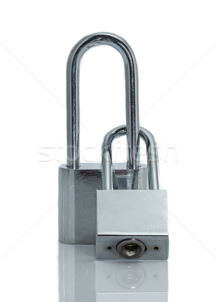 Métallique cadenas isolé blanche fond clé Photo stock © stoonn