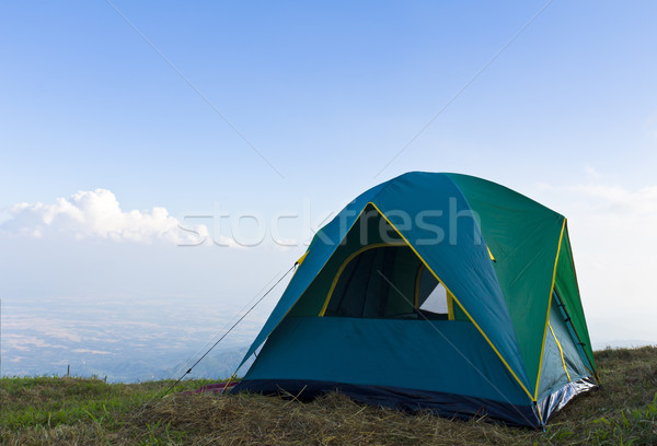 çadır çim mavi gökyüzü beyaz bulutlar doğa Stok fotoğraf © stoonn