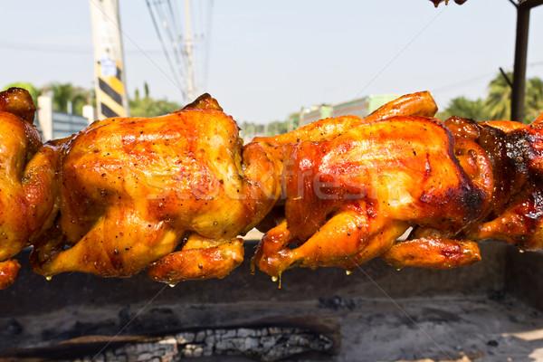 Tyúk pörkölt nyárs kép finom étel Stock fotó © stoonn