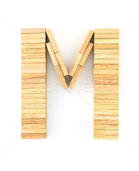 Wooden domino alphabet,M Stock photo © stoonn
