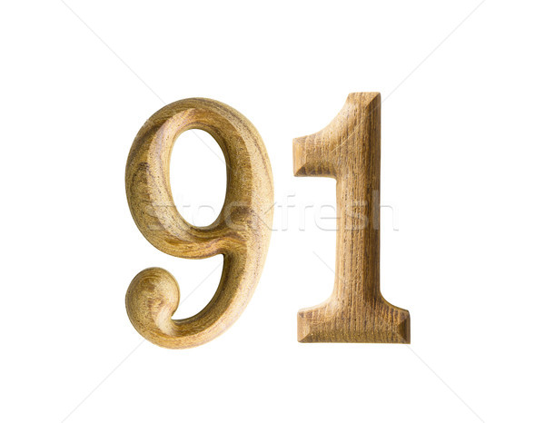 Wooden numeric 91 Stock photo © stoonn