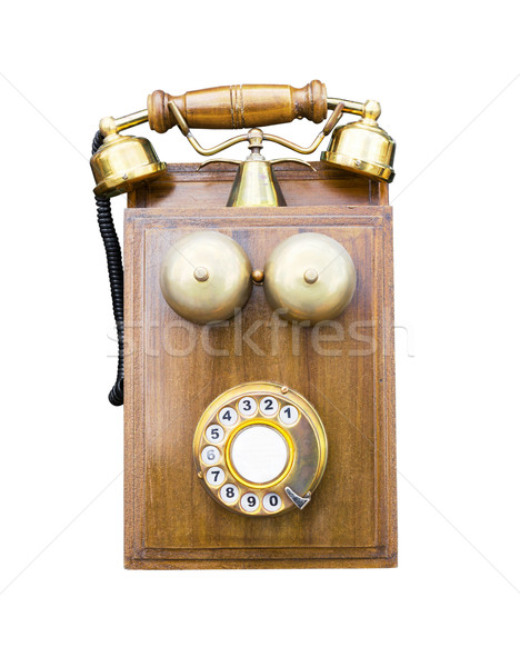 Antique wooden telephone isolated Stock photo © stoonn
