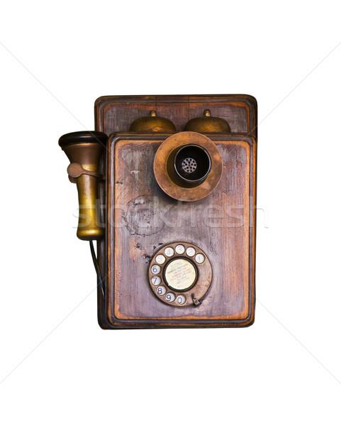 Velho telefone vintage branco comunicação Foto stock © stoonn