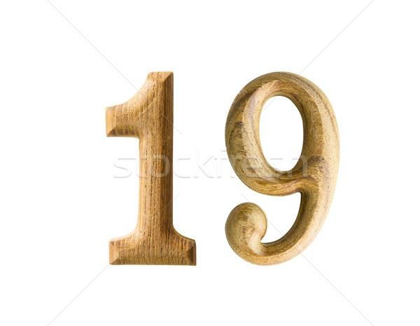 Houten numeriek 19 mooie schaduw witte Stockfoto © stoonn