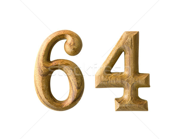 Wooden numeric 64 Stock photo © stoonn