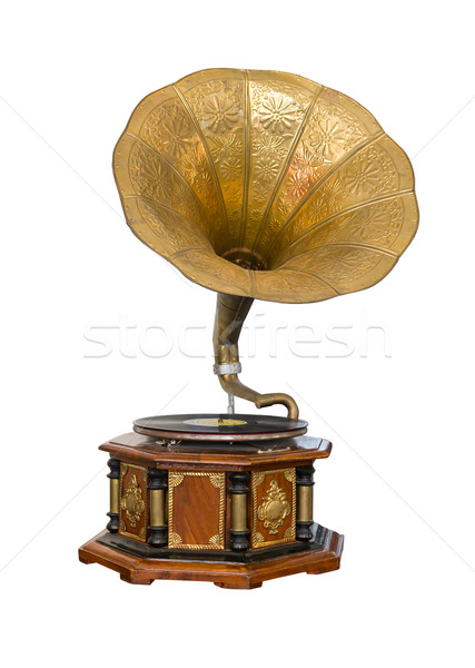 Vintage gramofone isolado branco música projeto Foto stock © stoonn