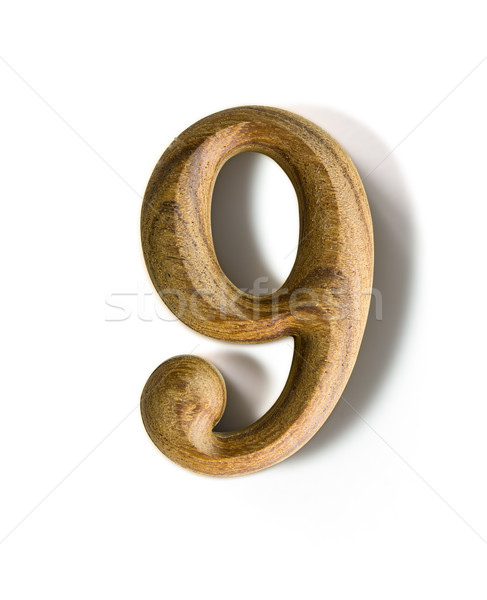Wooden numeric 9 Stock photo © stoonn