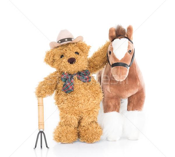 Teddy bear farmer with pitchfork  and horse Stock photo © stoonn