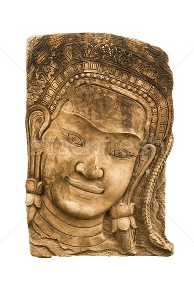 Arenito cara mulher angkor textura construção Foto stock © stoonn
