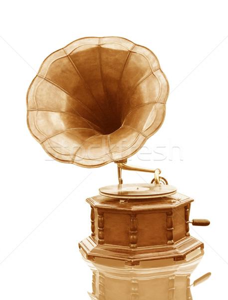 Stock fotó: Klasszikus · gramofon · lemez · izolált · grunge · zene