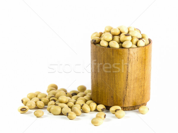 Soybeans in wood cup Stock photo © stoonn