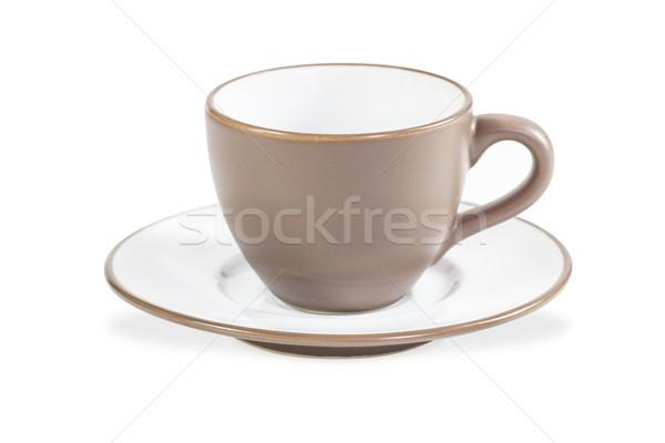 Kahverengi kahve fincanı fincan tabağı beyaz kafe plaka Stok fotoğraf © stoonn