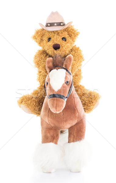 Cowboy miś jazda konna konia konie biały Zdjęcia stock © stoonn
