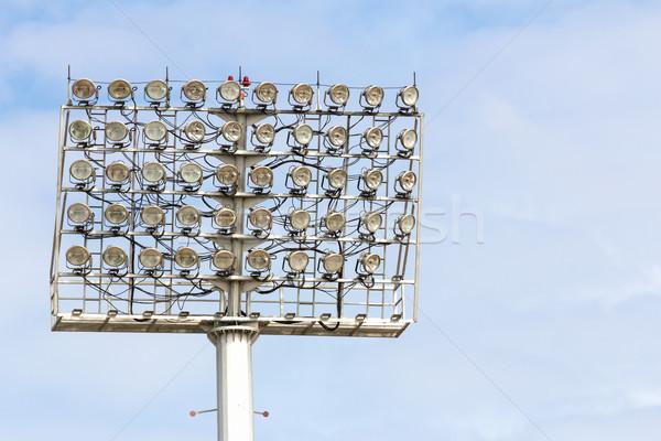 Stadion Spotlight wieża Błękitne niebo niebo ulicy Zdjęcia stock © stoonn