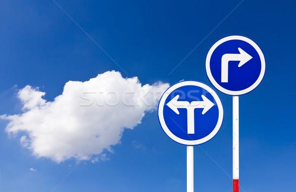 Foto stock: Estrada · sinaleiro · transformar · azul · céu · assinar