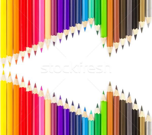 Lápis branco escolas pintar Foto stock © stoonn