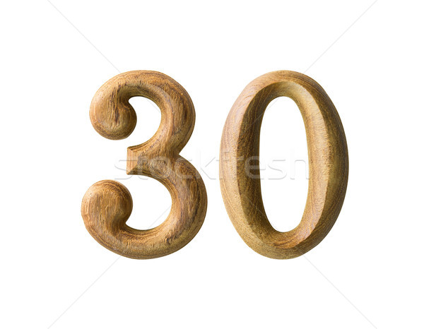 Stock photo: Wooden numeric 30