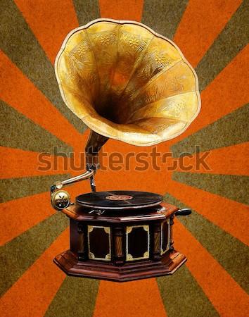 Gramófono retro sol edad bronce Foto stock © stoonn