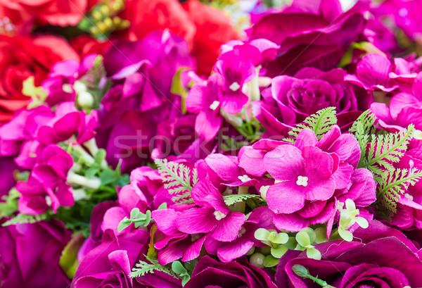 Rosa falsificação flor feito à mão de costura flores Foto stock © stoonn