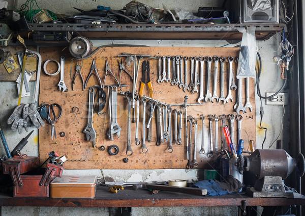 Stockfoto: Tool · plank · muur · oude · tools · opknoping