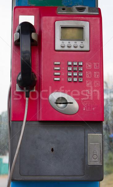 Telefoon kraam roze vuile tekst buitenshuis Stockfoto © stoonn