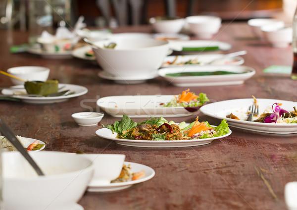 プレート ダイニングテーブル 仕上げ 食品 ディナー フォーク ストックフォト © stoonn