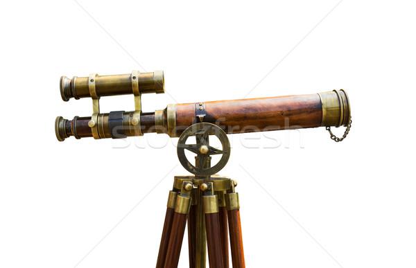 Antyczne mosiądz teleskop biały niebo metal Zdjęcia stock © stoonn