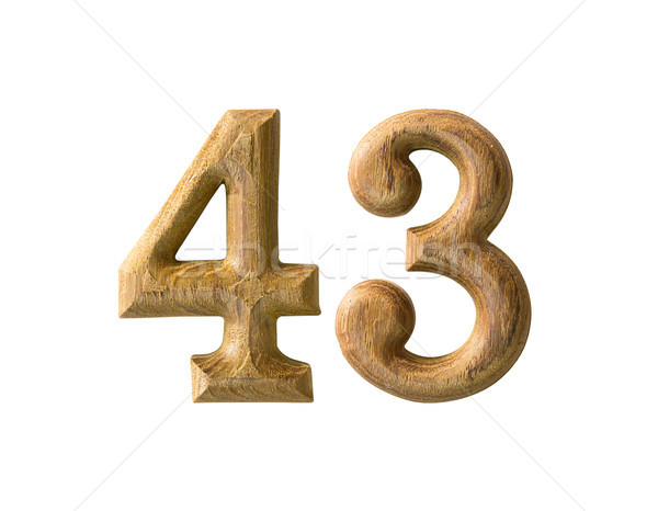 Stock photo: Wooden numeric 43