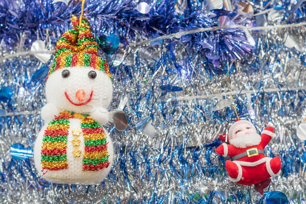 Snowman and Santa Claus on tinsel  background Stock photo © stoonn