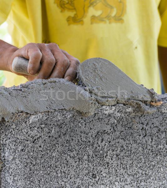 каменщик вниз другой кирпича Сток-фото © stoonn