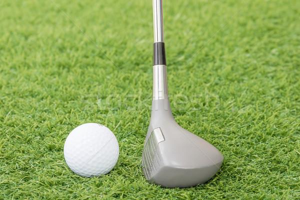 Golf ball and golf club on green grass Stock photo © stoonn
