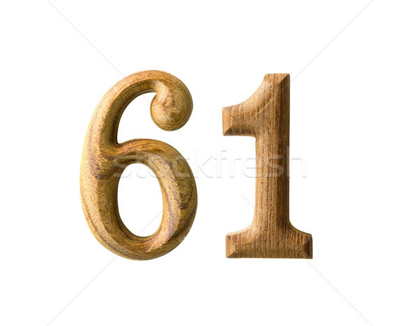 Wooden numeric 61 Stock photo © stoonn