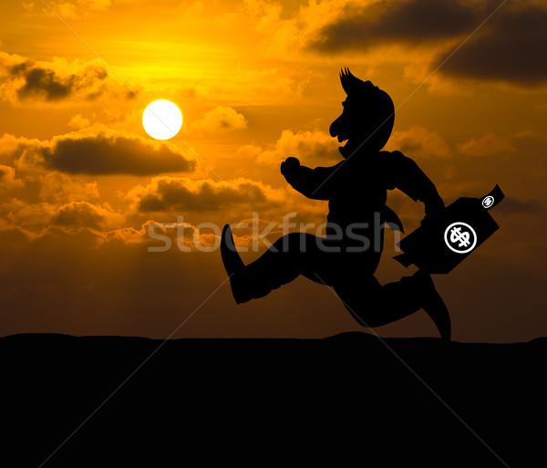 Cartoon affaires silhouette courir affaires façon Photo stock © stoonn