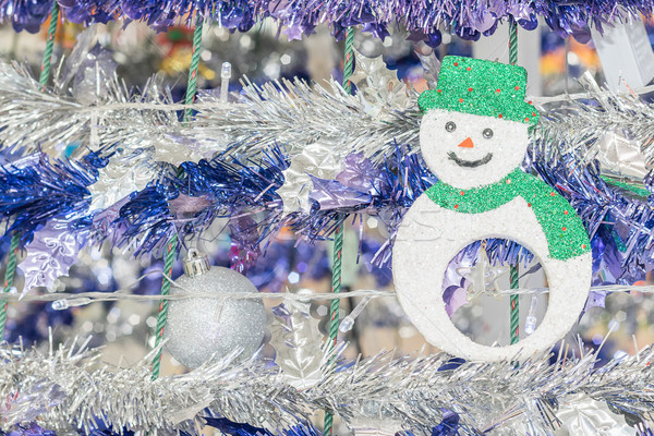 Snowman and tinsel  holiday background Stock photo © stoonn