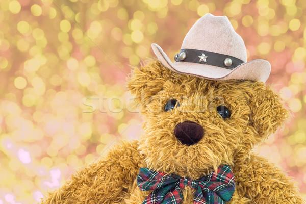 Cowboy teddybeer Geel bokeh achtergrond Stockfoto © stoonn