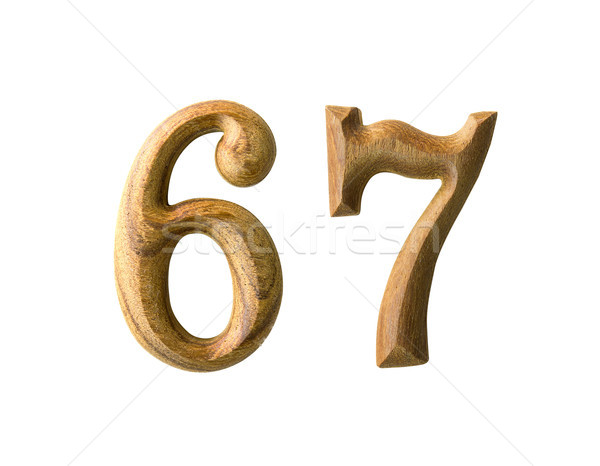 Wooden numeric 67 Stock photo © stoonn