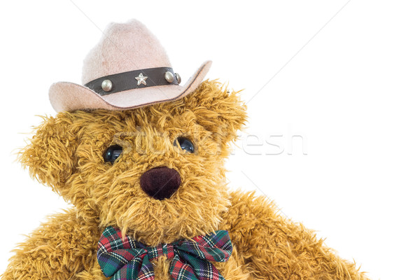 Close up cowboy teddy bear on white  Stock photo © stoonn