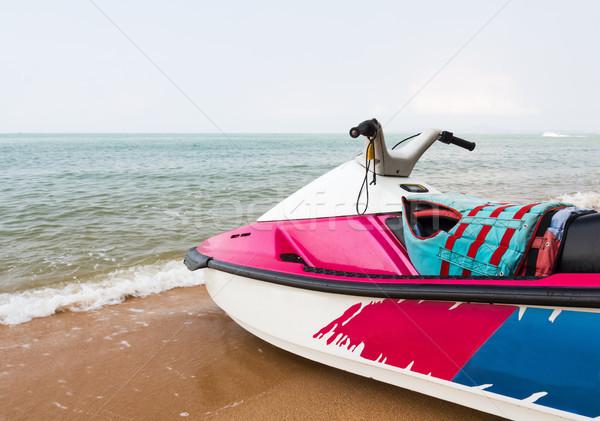 Jet ski tengerpart rózsaszín közelkép víz nap Stock fotó © stoonn