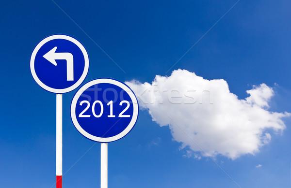 Estrada sinaleiro 2012 azul céu assinar Foto stock © stoonn