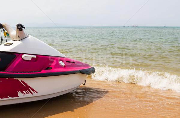 Rózsaszín jet ski közelkép tengerpart víz nap Stock fotó © stoonn