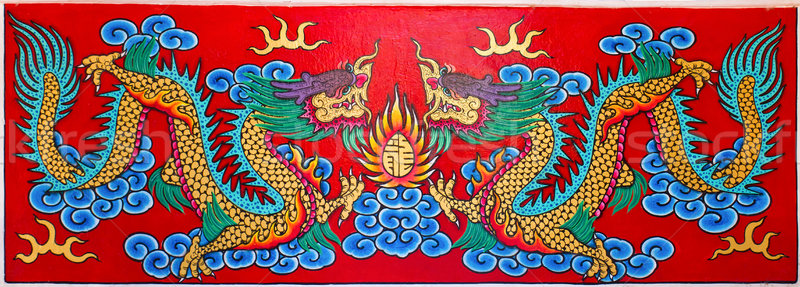 Stock photo: Art Chinese style painting two dragon