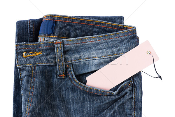 New Blue jeans trouser and tag Stock photo © stoonn