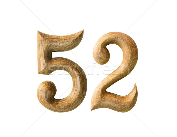 Wooden numeric 52 Stock photo © stoonn